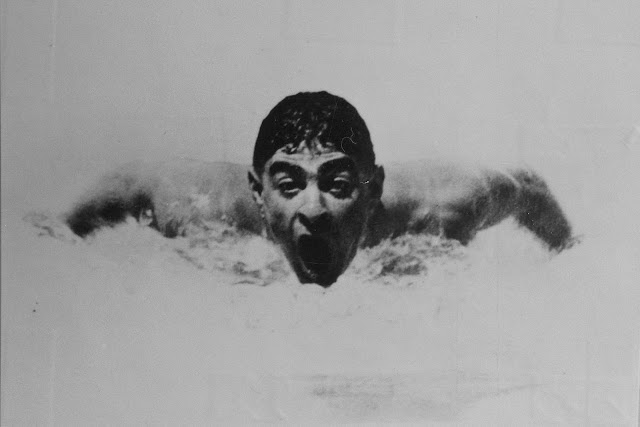 Olympic swimmer and Holocaust survivor, Alfred Nakache, in action