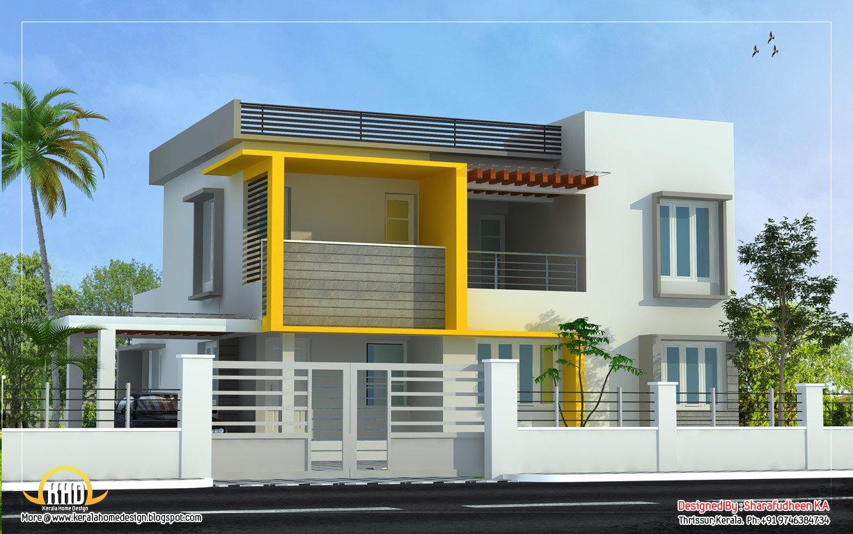 Modern home design 2643 sq ft kerala home design and for Modern house designs usa