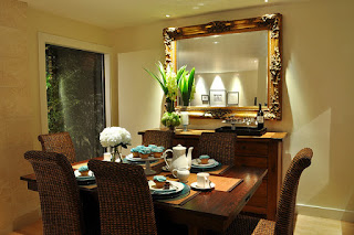 Contemporary Details in the Dining Room Decorating Ideas with Rattan Chairs and Wooden Table on the Brown Floor
