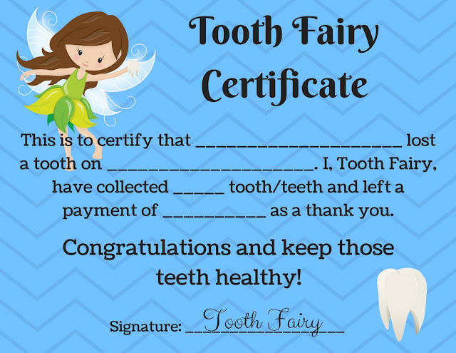 Printable PDF Tooth Fairy Certificate