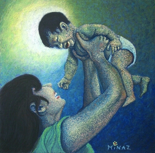 Mother's Play: pastel by Minaz Jantz