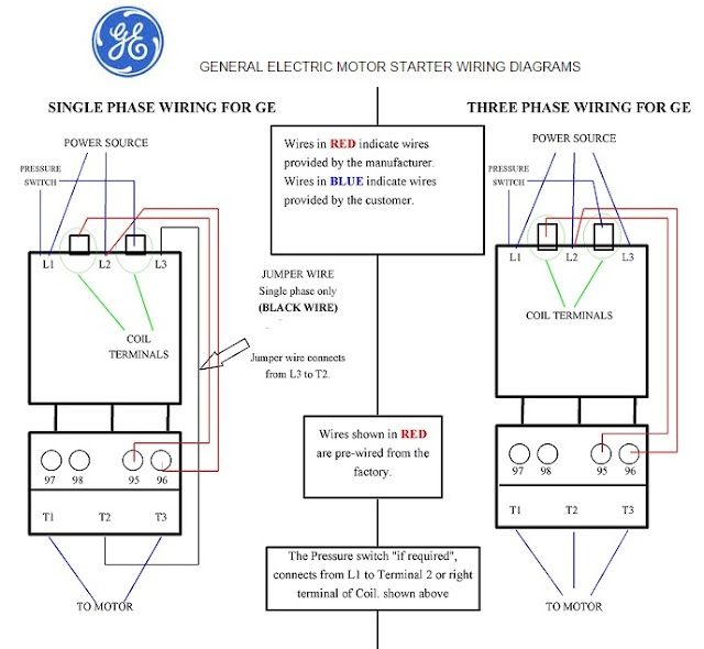 General Electric Motor Starter 1-Phase and 3-Phase Wiring ... on
