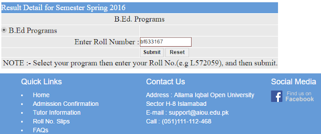 B.Ed. Result of AIOU Islamabad has been Announced