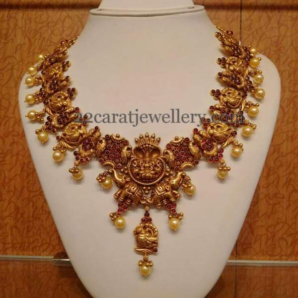 Nakshi Parrot Necklace with Pota rubies