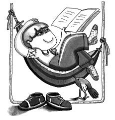 Imagen de hombre leyendo por el Día Mundial del Libro