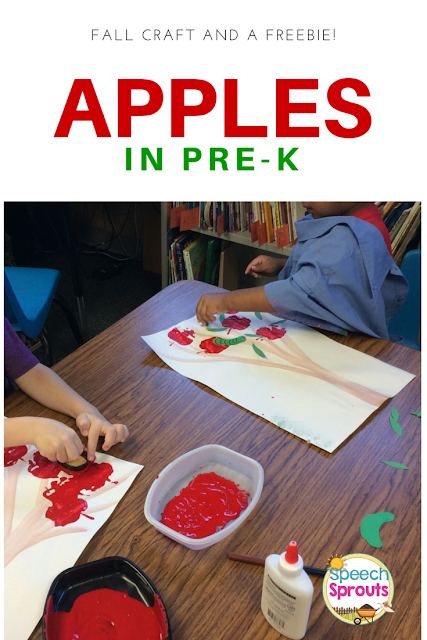 Apple Stamping Art for Fall Language Development by Speech Sprouts www.speechsproutstherapy.com