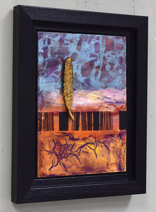 small colorful framed painting mixed media