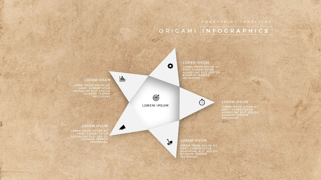 5 Icon options of Abstract Origami Infographics for PowerPoint Templates in Picture Background
