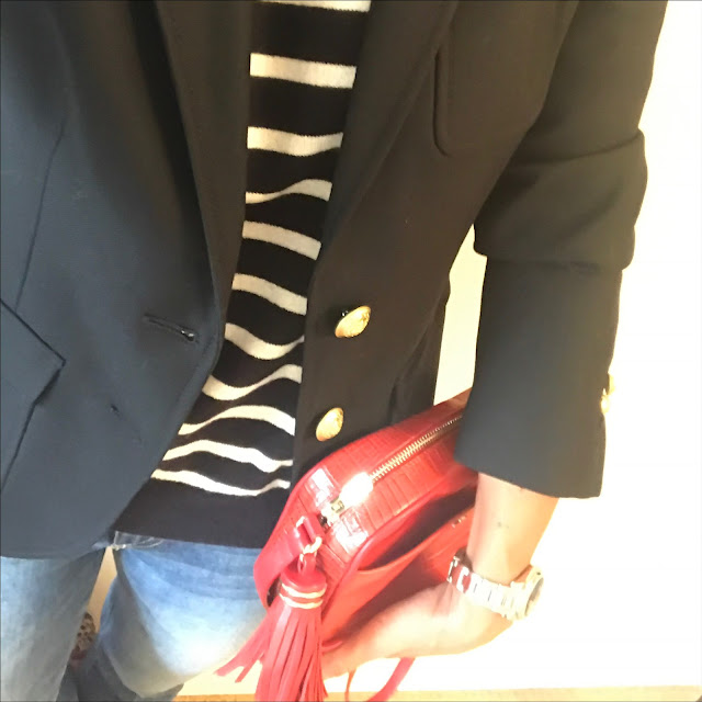 My midlife fashion, j crew rhodes blazer, marks and spencer pure cashmere stripe crew neck jumper, uterque mock croc crossbody bag, j crewn iro jane jeans, french sole india cheetah ballet pumps