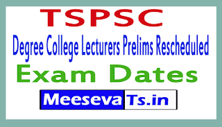TSPSC Degree College Lecturers Prelims Rescheduled Exam Dates