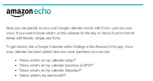 Amazon Echo Details on Google Calendar