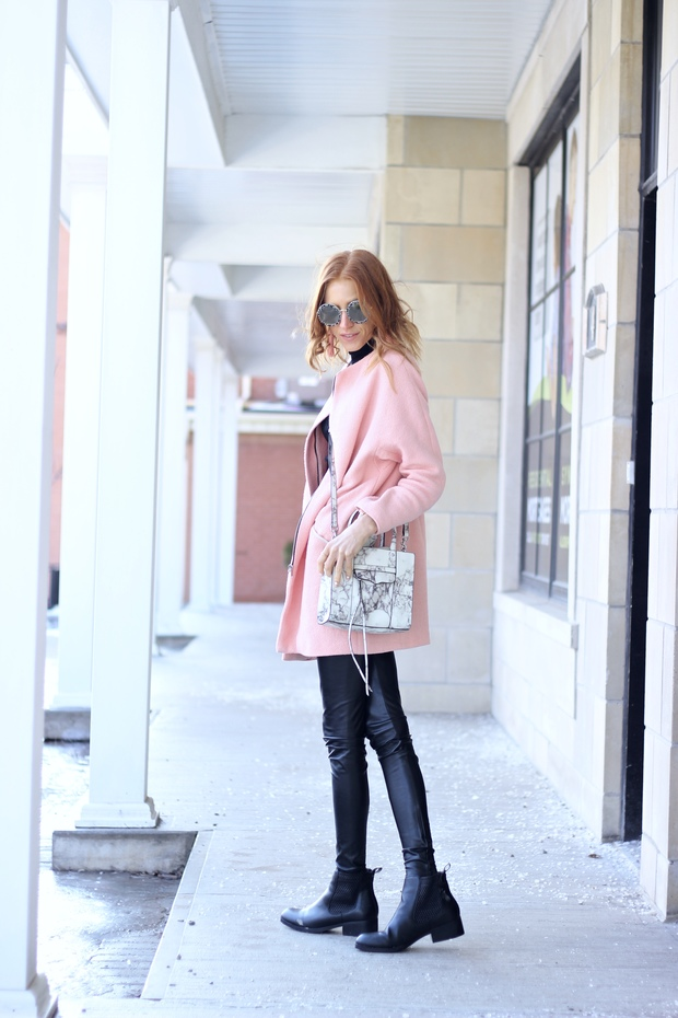 Pastels & Pastries Winter Style- Le Specs Hey Yeh, Pink winter coat, Marble print bag, beaded tassle earrings, Cougar Boots, Mantraband bracelet