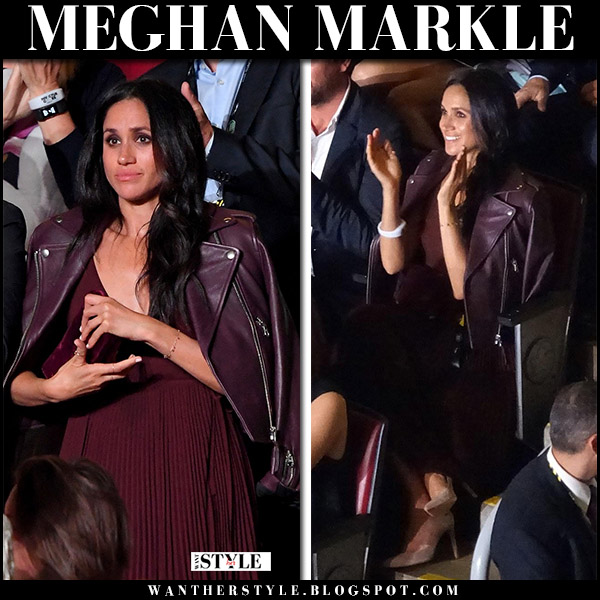 Meghan Markle in burgundy leather jacket and burgundy pleated dress at Invictus Games Opening Ceremony  september 23 2017 fashion royal family