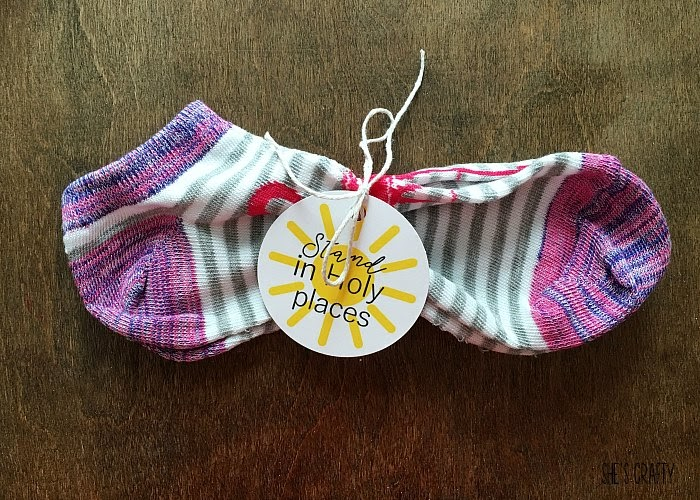 Easy and Inexpensive Girls Camp handouts, pillow treats or tuck in treats- socks, stand in holy places