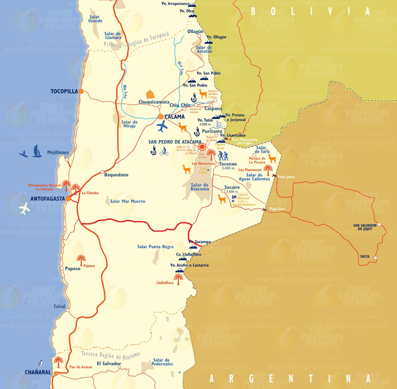 Desierto De Atacama Mapa America.Seguridad Integral Galan Asociados