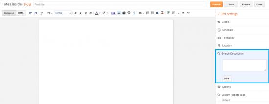 Screenshot Of Post Editor Showing Search Description Box