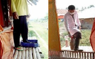 pengaplikasian desinfektan pada peternakan