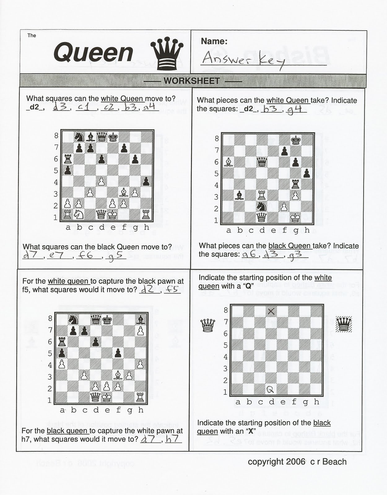 Chess Notation Worksheet