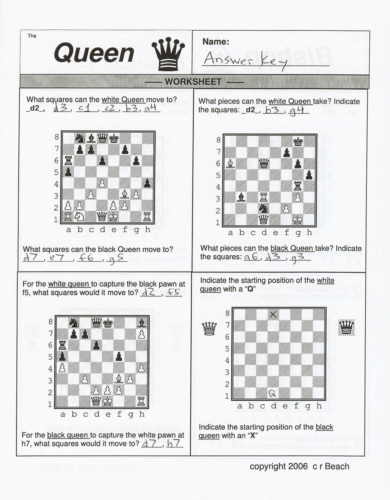 Chess Worksheet Pin