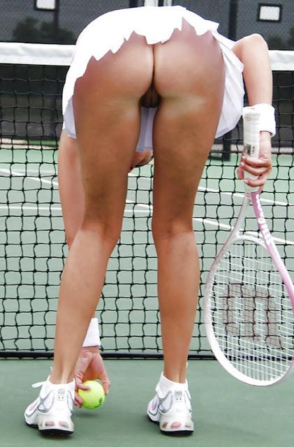 Jogando tenis sem calcinha