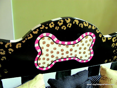 polka dot dog bone hand painted on wood