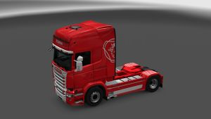 White and Red Skin for Scania RJL