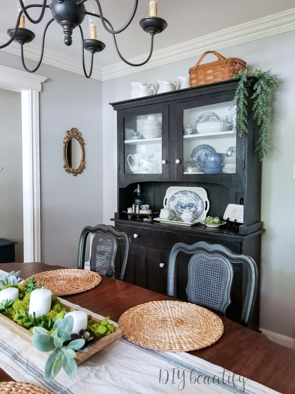 black hutch farmhouse dining
