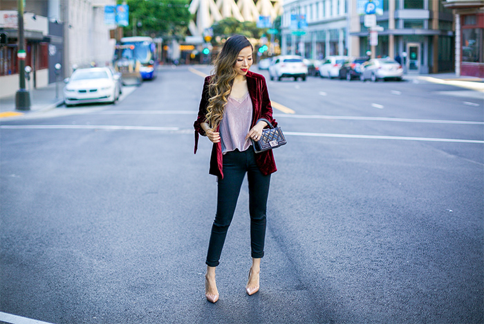 burgundy velvet blazer, bow knot blazer, velvet cami, free people velvet cami, chanel boy bag, 7fam baire denim, christian louboutin so kate pumps, baublebar sequin earrings, san francisco fashion blog, fall outfit ideas
