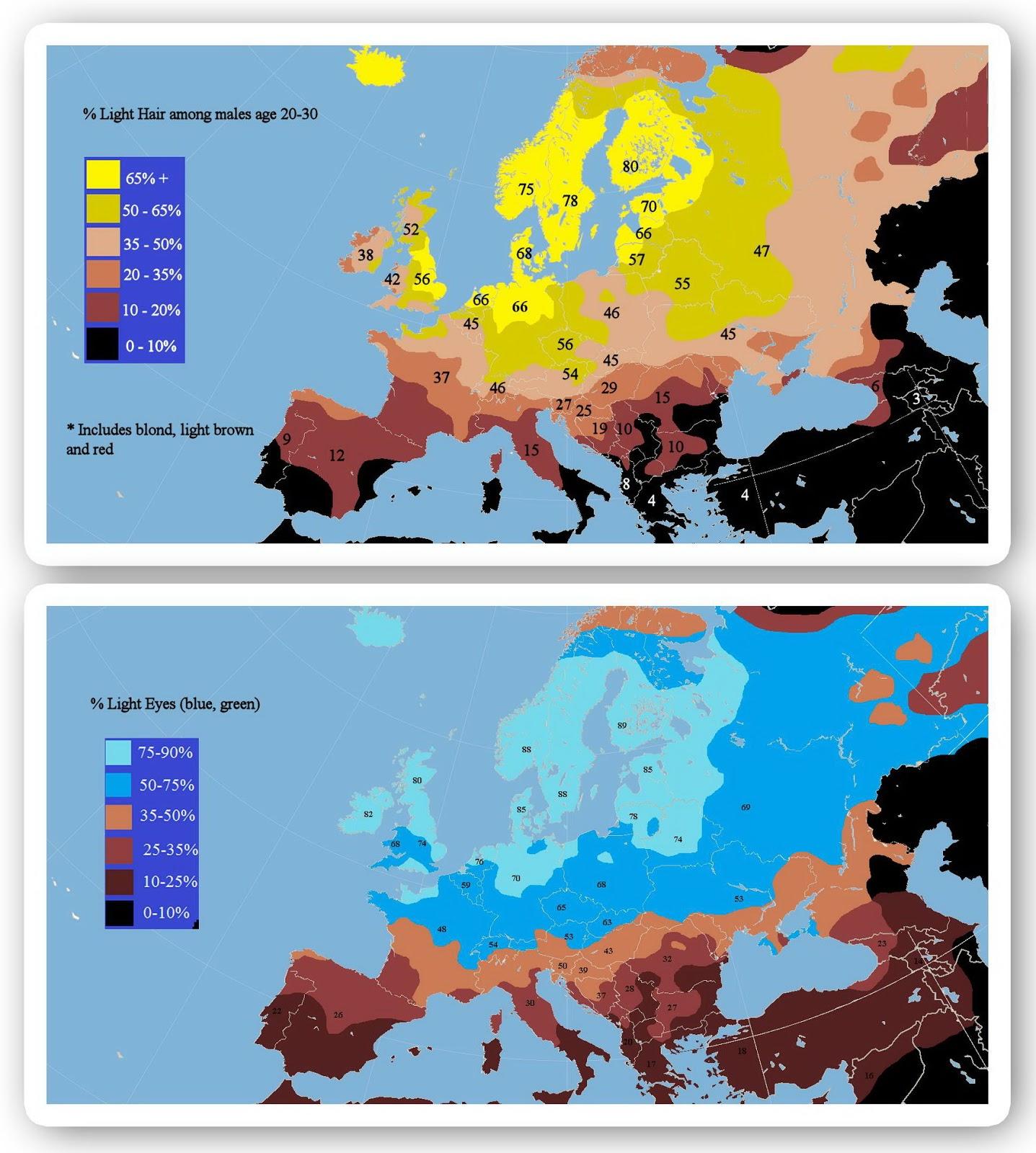 Light hair & light eyes in Europe