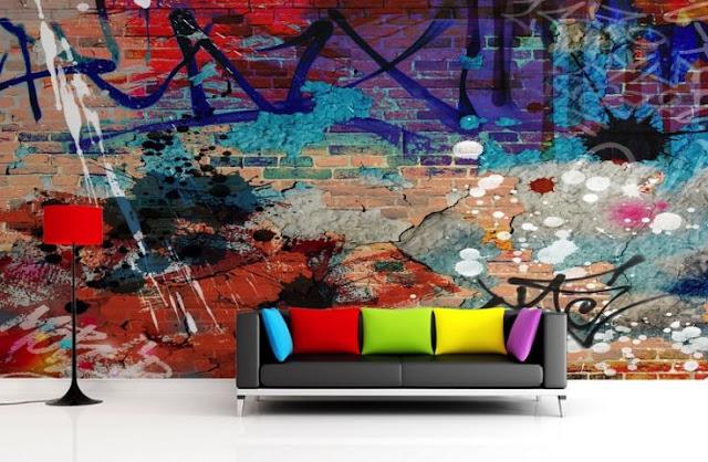 ungdomstapet killrum pojktapet graffiti tapet mur tegel fototapet