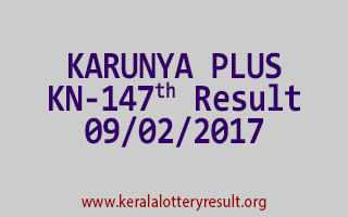 KARUNYA PLUS KN 147 Lottery Results 09-02-2017