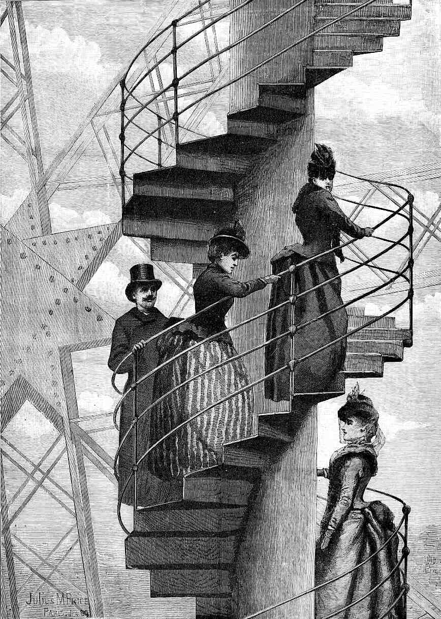 Climbing the Eiffel Tower staircase at the 1900 World's Fair in Paris