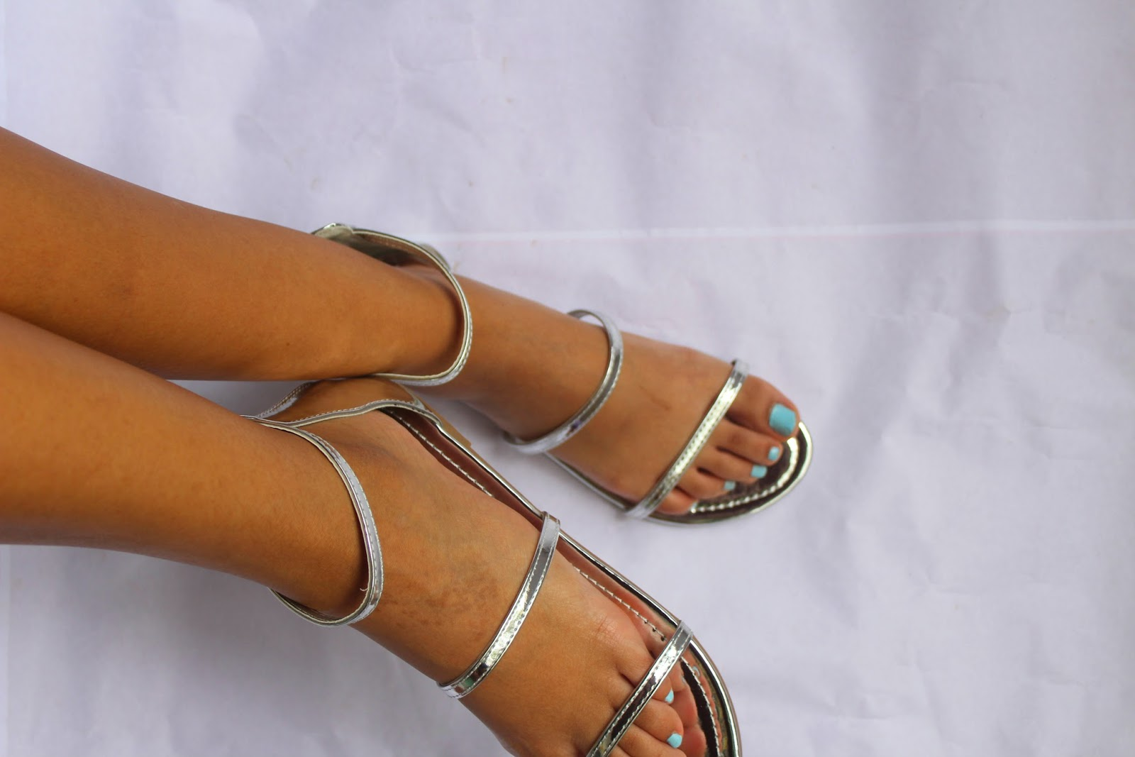 Silver Mirror High Ankle Triple Straps Open Toe Jelly Sandal