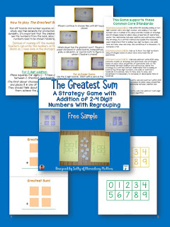 The Greatest Sum - an Addition Game with Strategy and Fun! This game practices adding 2-4 digit numbers with many variations!
