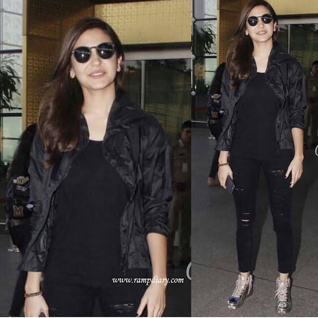Anushka Sharma's Airport Look - Black outfit