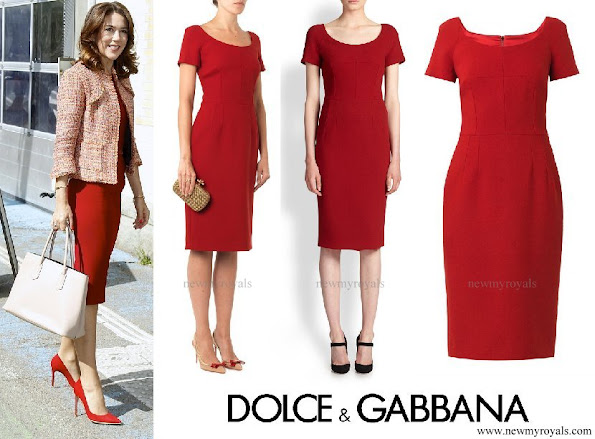 Crown Princess Mary wore Dolce and Gabbana red scoop neck wool crepe dresss