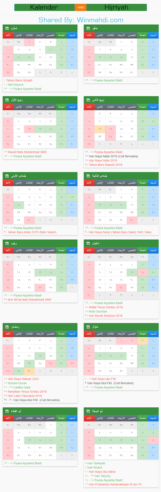 Kalender Islam Hijriyah
