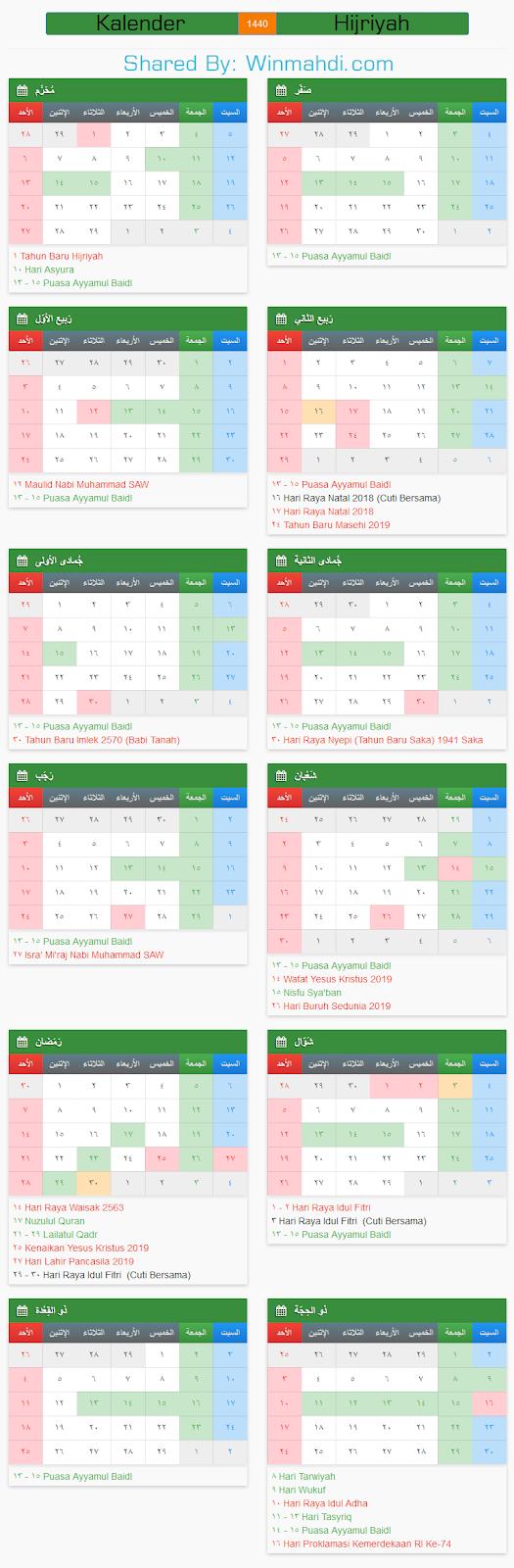 Kalender Hijriyah 1440 : kalender, hijriyah, Kalender, Islam, (Hijriyah), TAMPUNG, SNMPTN, SBMPTN, UMPTKIN