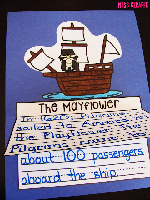 Mayflower writing activity that's an easy no prep craft for November learning fun