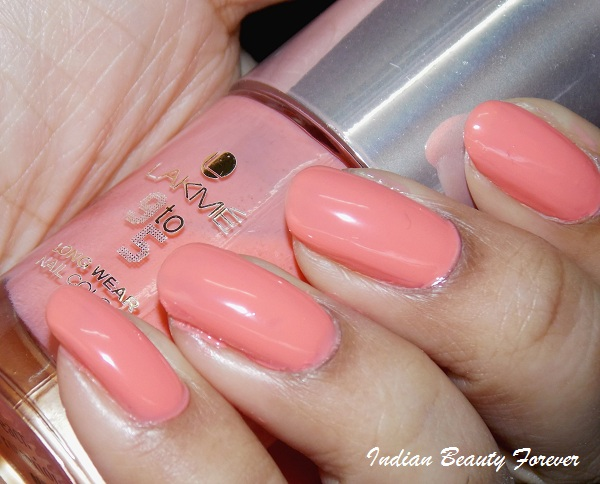 Lakme 9 To 5 Long Wear Nail Color In Peach Promotion Review And Swatches