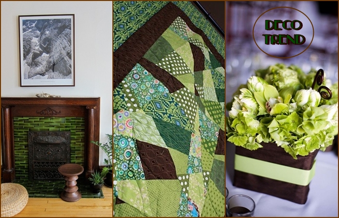 brown and green deco trend