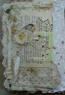 Фотоальбом-растрепыш, ручная работа. Автор carambolka.ru. Использованы ткань, картонная основа, шитье, хлопковое кружево, кофе, вырубка ножами Papertrey ink, Marianne design, Nellie's choice, Memory box, Spellbinders, бумага KCompany и 7Gypsies, крафт-бумага, штампы Prima, Inkadinkado и 7Gypsies, пуговицы, сизаль, наклейки.
