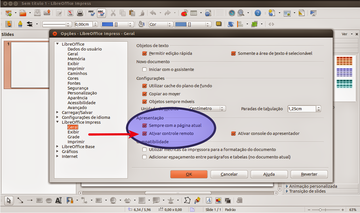 Controle remoto do LibreOffice Impress