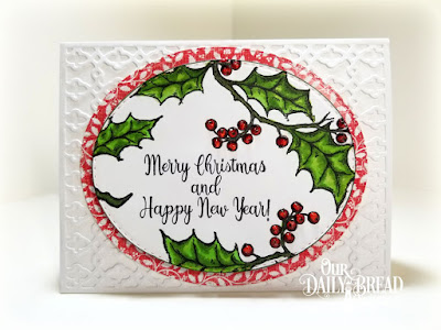 Our Daily Bread Designs Stamp Set: Holly Leaves, Paper Collection: Holly Jolly, Custom Dies: Card Caddy and Gift Bag, Double Stitched Ovals