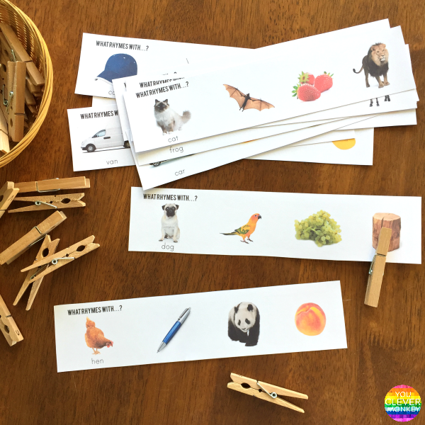 Rhyming Word Peg Clip Cards | you clever monkey