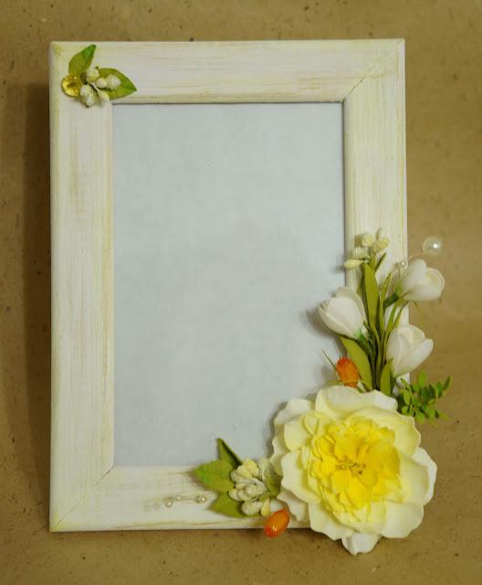 рамка с цветами из фоамирана