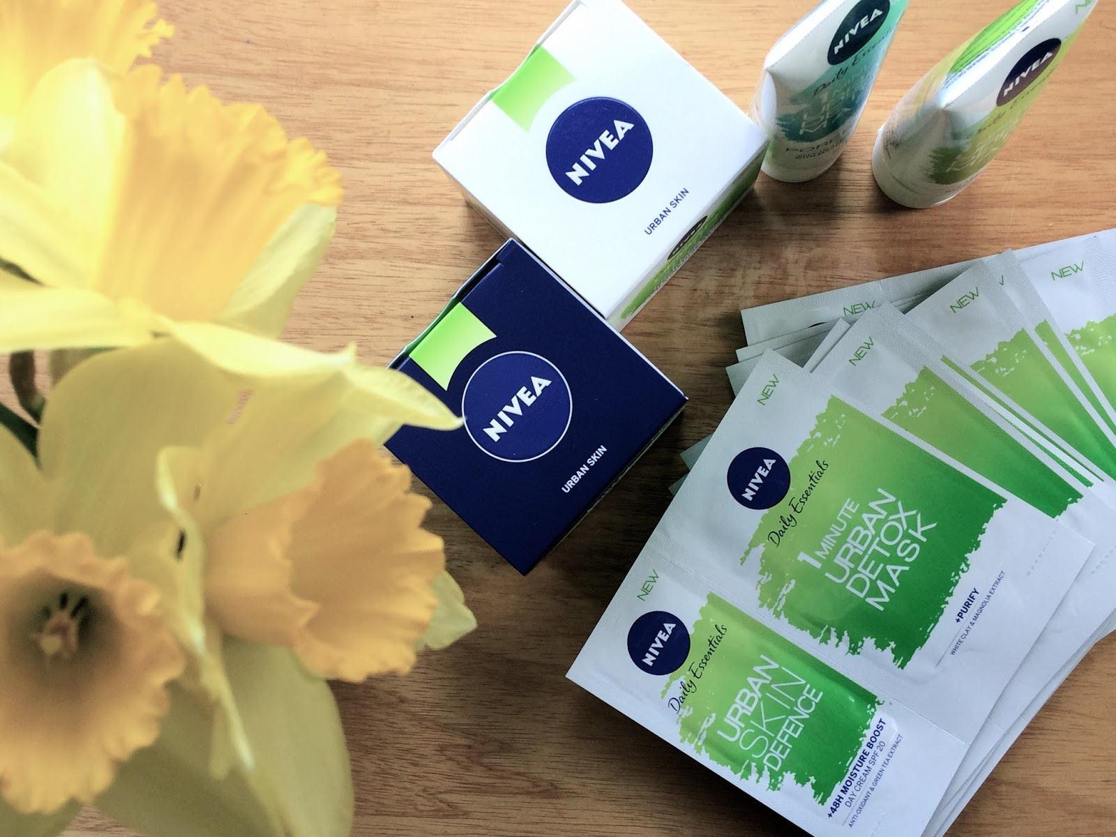 A selection of Nivea Urban Skin Detox products in a flat lay