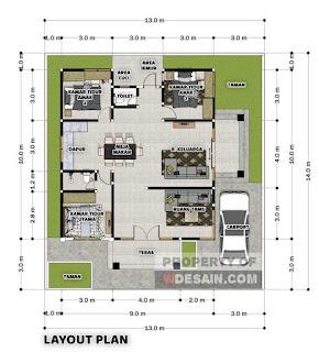 Denah Rumah Ukuran 9x10 Meter Teras Depan dan Samping
