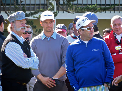 Actors Bill Murray and Josh Duhamel with Singer Huey Lewis at the AT&T Pebble Beach National Pro-Am Golf Tournament