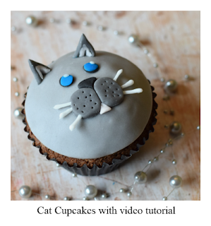 Check out these fun fondant cat cupcakes.  They comprise of a delicious and moist chocolate cupcake which are topped with a chocolate ganache frosting before being decorated as a cute cat with fondant!  Includes video tutorial.